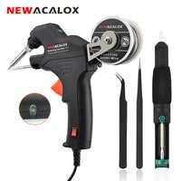 NEWACALOX 50W EU/US Electric Soldering Iron Kit Internal Heating Gun Handheld Automatically Send Tin Welding Station Repair Tool