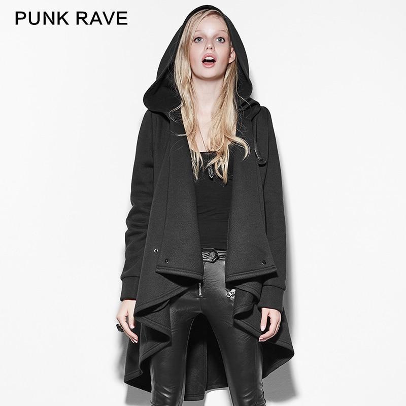 2017 New Coat Women Black Personality Irregular Cloak Style Long Sleeve Hooded Loose Jacket Female Cotton Outwear Coats