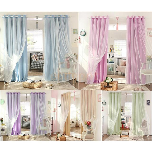 2 In 1 Solid Sheer Curtain Window Blinds Drape Blackout Thermal Insulated Shade Curtains