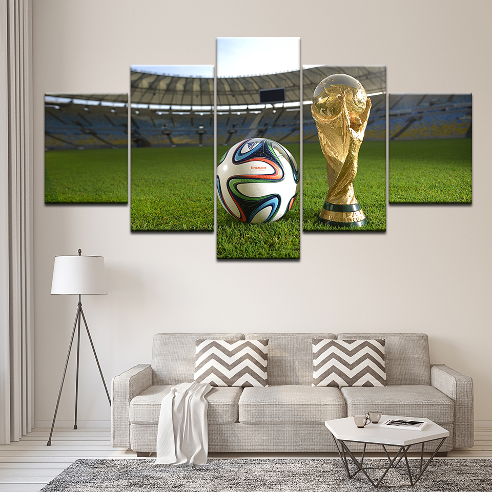 Canvas Painting 2014 FIFA World Cup 5 Pieces Wall Art Painting Modular sport Wallpapers Poster Print for living room Home Decor