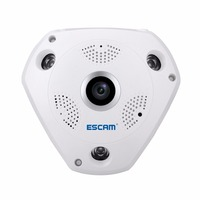 NEW MODELS ESCAM SHARK QP180 Security Camera 360degree Panoramic Fisheyes Two Way Audio Wifi Infrared VR