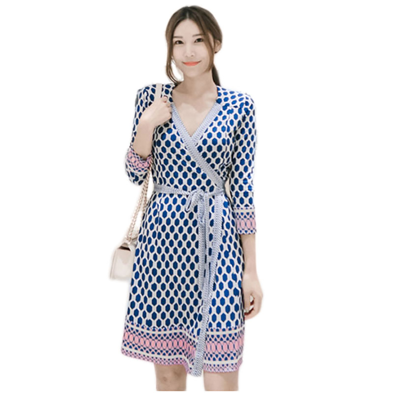 748be8b76b2a9 Summer Womens Polka Dots Wrap Beach Dress Robe Courte Femme Ete 2018 Office  Ladies Casual Dresses