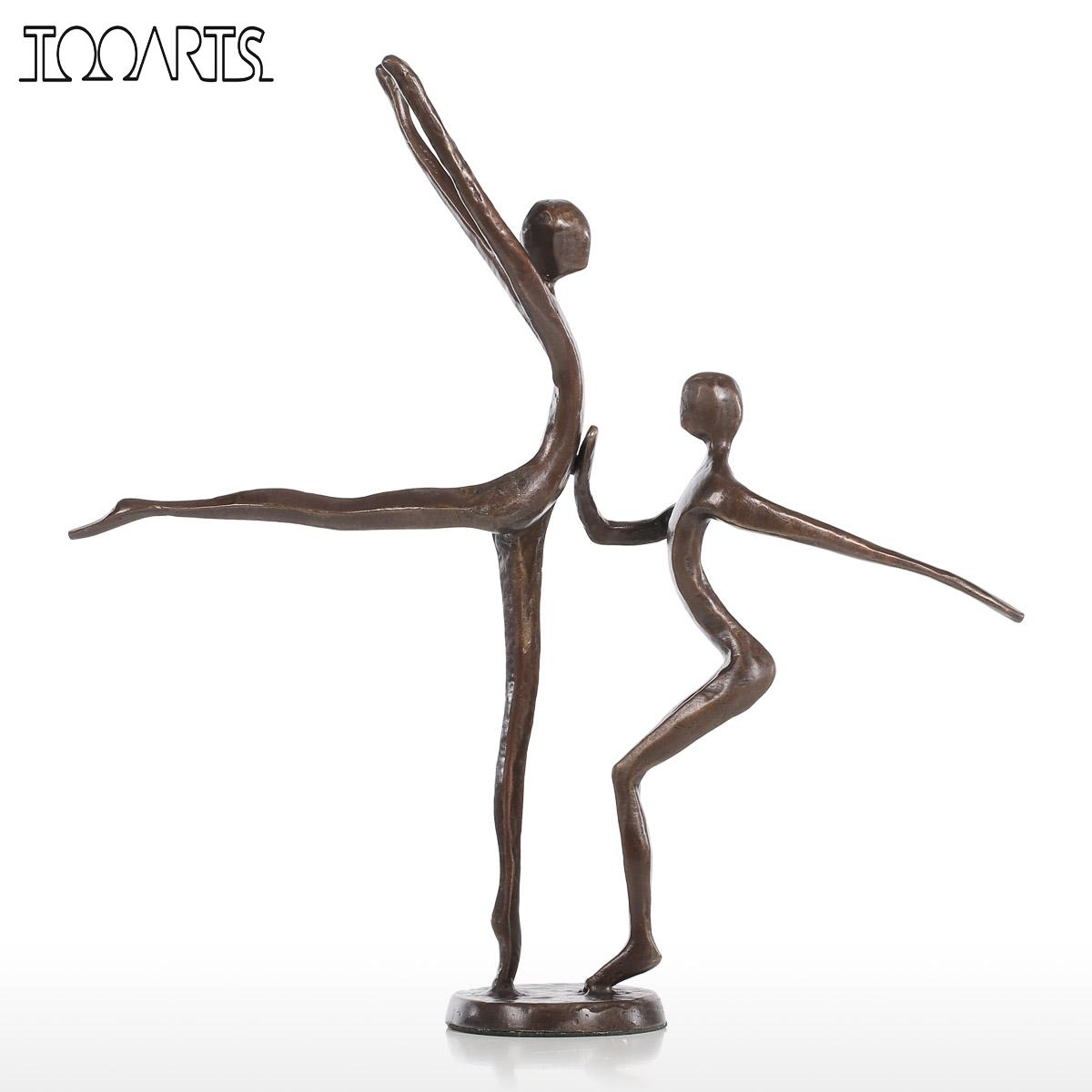 Tooarts Double Dance Statue Modern Bronze Sculpture Metal