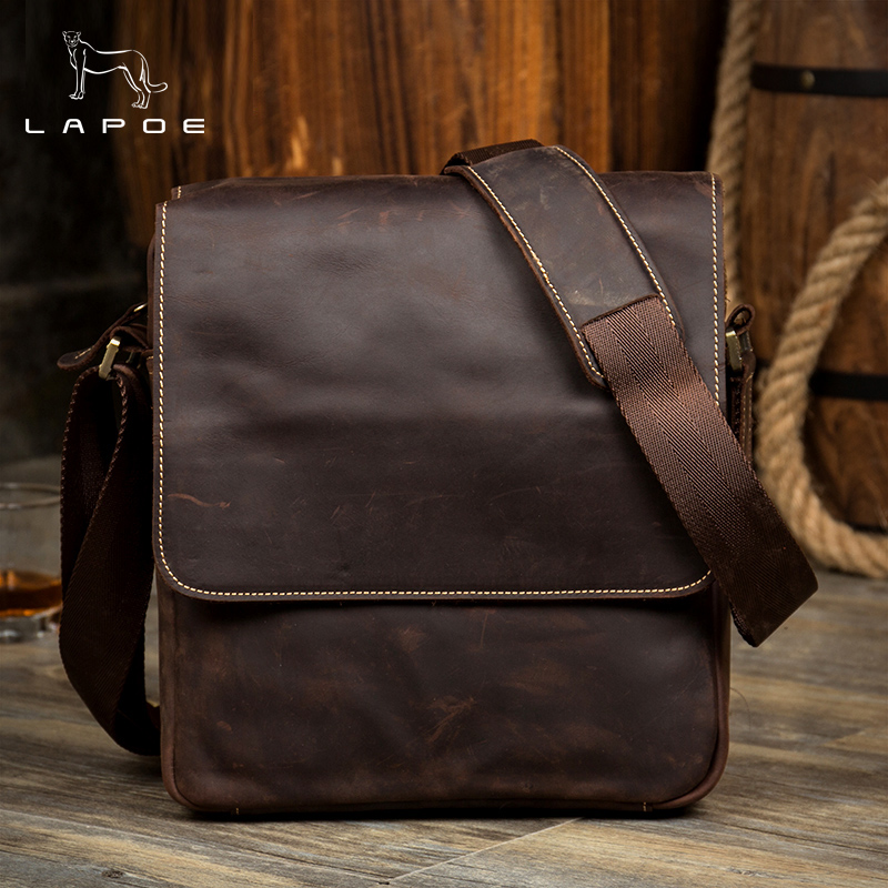 LAPOE Genuine Crazy Horse Leather vintage men bags men casual leather messenger bag man business bag men's handbag hot sale genuine horse leather top pu leather casual vintage men envelop clutch bag handbag fashion brief messenger shoudler bag