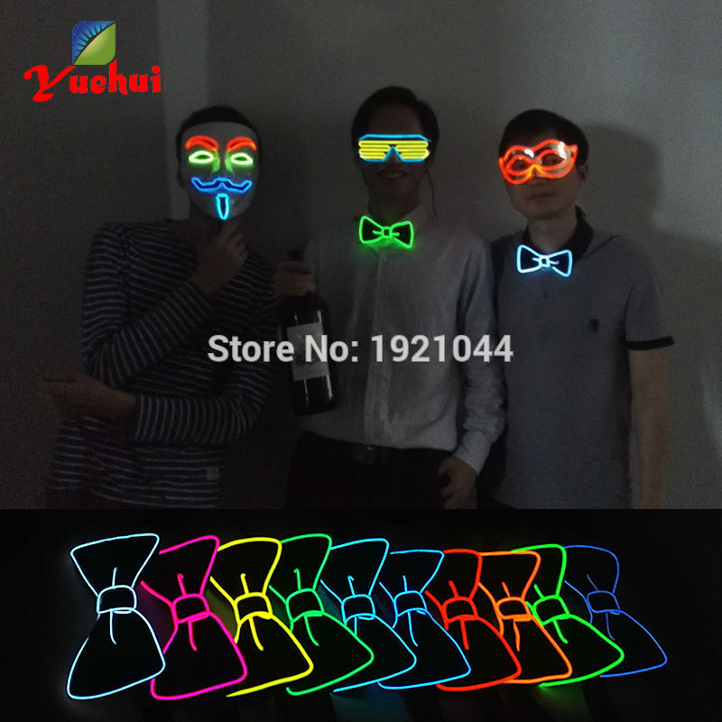 2017 New Design Fashion10 Color Light Up BOW TIE glowing EL wire BOW TIE For Evening Party Decoration Powered by 2AA batteries