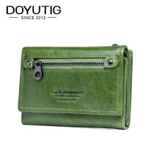 DOYUTIG Brand Women's Real Cow Leather Short Wallets Green / Red Genuine Leather Mini Money Purse For Lady Fashion Wallets A169(China)