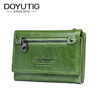 DOYUTIG Brand Women's Real Cow Leather Short Wallets Green / Red Genuine Leather Mini Money Purse For Lady Fashion Wallets A169