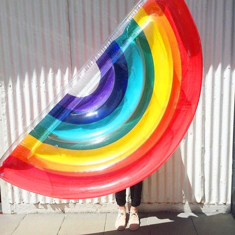 Chaud été géant arc-en-ciel gonflable matelas piscine flotteur jouet bain de soleil tapis de plage Air Pad bouée anneau de natation cercle fête jouets