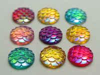 100 mezcla de colores AB patrón de escala de resina de pescado plano cabujón redondo 12mm