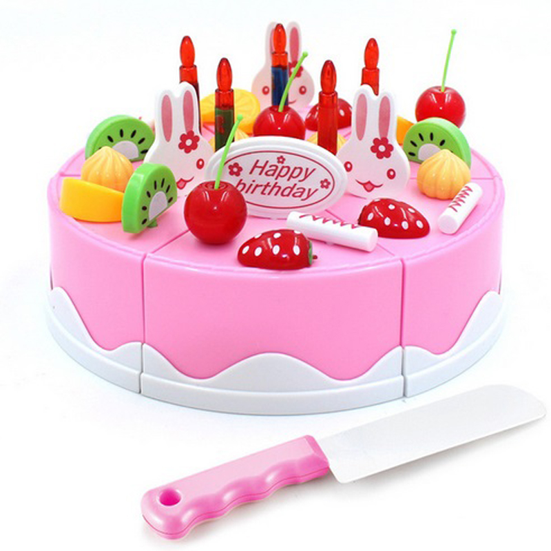 38 pcs Safe ABS Plastic Kitchen Toy Fruit Birthday Cake Cutting Kids Pretend Play Role Educational Girl DIY De Juguete Boy Gift birthday cake