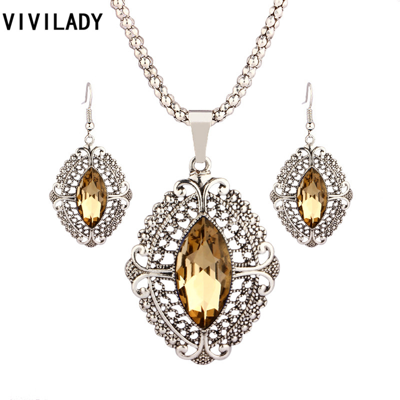 VIVILADY Retro Zinc Alloy Geometric Kristal Wedding Bridal Jewelry Set Wanita Liontin Kalung Anting Aksesoris Hadiah Pesta