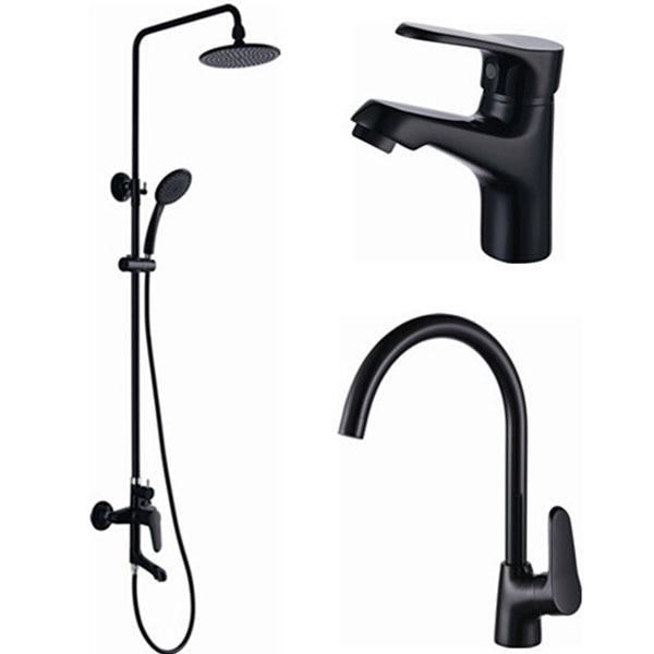 New Style Black Bath Taps,Set De Ducha,Shower Cold Hot Water Mixer ...