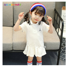 SLKMSWMDJ 2018 Summer New Childrens Wear Girls Preppy Style Dresses Kindergarten Performance Clothing Solid color sportswear