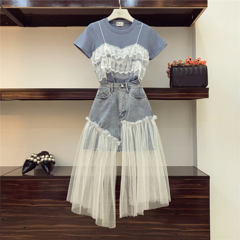 High Quality 2019 Summer Women Lace Patchwork Fake Two Pieces T-shirt + Mesh Splice Deinm Skirt 2 Pcs Sets Female Fashion Suits