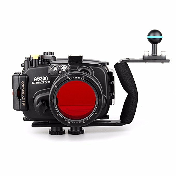 Meikon 40m/130ft Waterproof Underwater Camera Housing Case for A6300 w/ 16-50mm Lens + Aluminium Diving handle + 67mm Red Filter meikon 40m 130ft waterproof underwater camera housing case for a6300 dome port lens