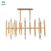 Post Modern Luxury Plating Gold Metal Led Chandelier Bamboo Shaped Lustre E14 Rectangle Pendant Chandelier Indoor Lighting