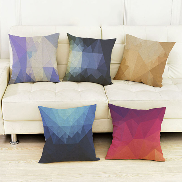 9 couleurs géométrique 3D diamant imprimer canapé coussin salon ...