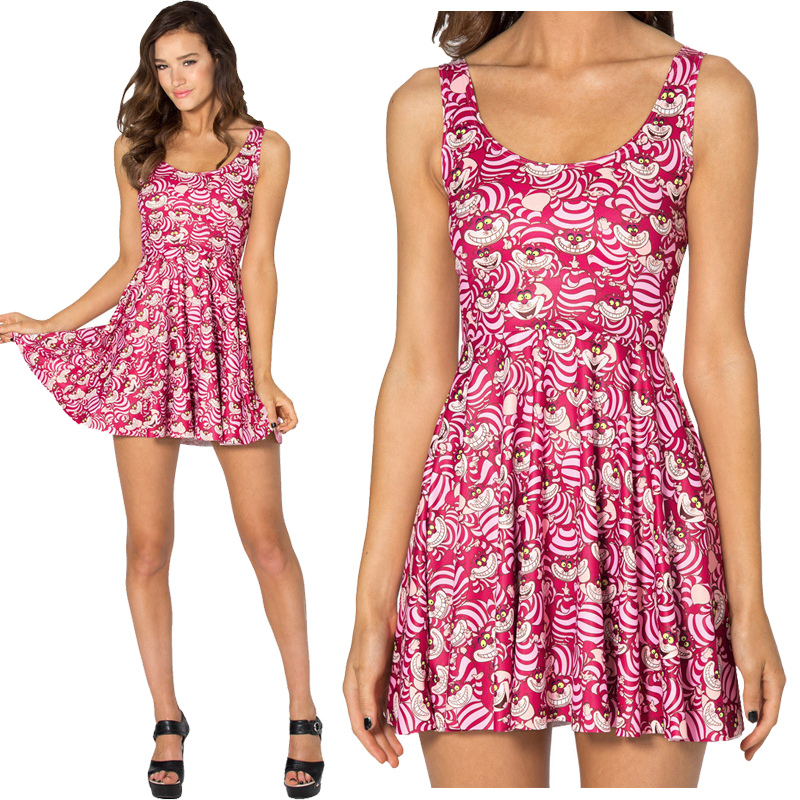82b73b474c5d3 US $7.99 |New Summer 2015 Black Milk Cheshire Cat Scoop Skater Dress Summer  Skater Dress Print Dresses For Women Dress Novelty vestidos-in Dresses ...
