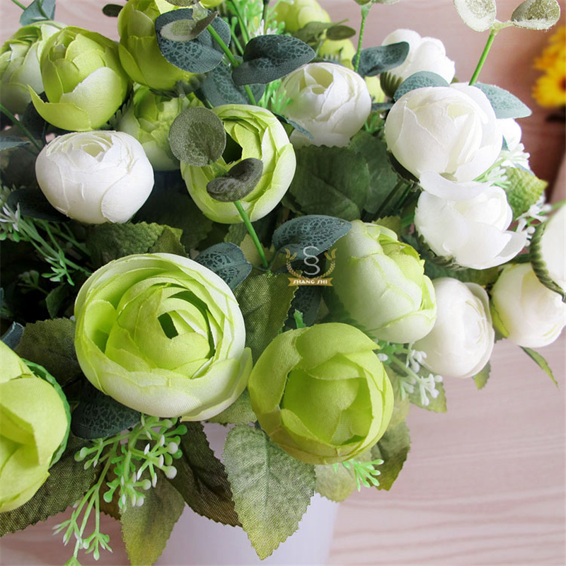 Decoración de primavera 10 cabeza decorativa rose bouquet real touch flores arti