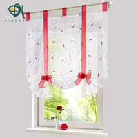 Roman Curtain New Design Floral Embroidered Sheer Window Curtain For Kitchen Living Room Voile Tulle Screening