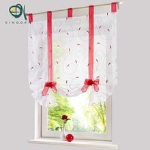 Sinogem cortina romana nuevo diseño floral bordado pura voile cortina de ventana de la cocina salón tul screening panel nuevo