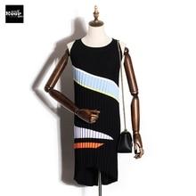 2018 New Basic Knitted Dress Women Autumn Winter Sleeveless Striped Fashion Mini Sweater Dress Irregular Contrast Color Vestidos