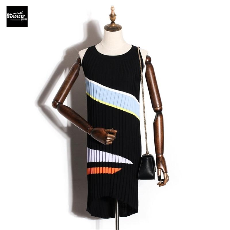 2018 New Basic Knitted Dress Women Autumn Winter Sleeveless Striped Fashion Mini Sweater Dress Irregular Contrast Color Vestidos classic contrast color club mini dress black white