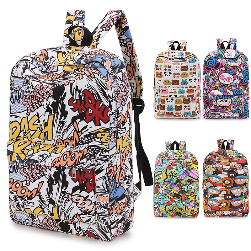 2019 weibliche Rucksack Cartoon Street Graffiti Leinwand Rucksack Mädchen Weibliche Beste Reisetasche Frauen Rucksack Mochila Rucksack bagpack