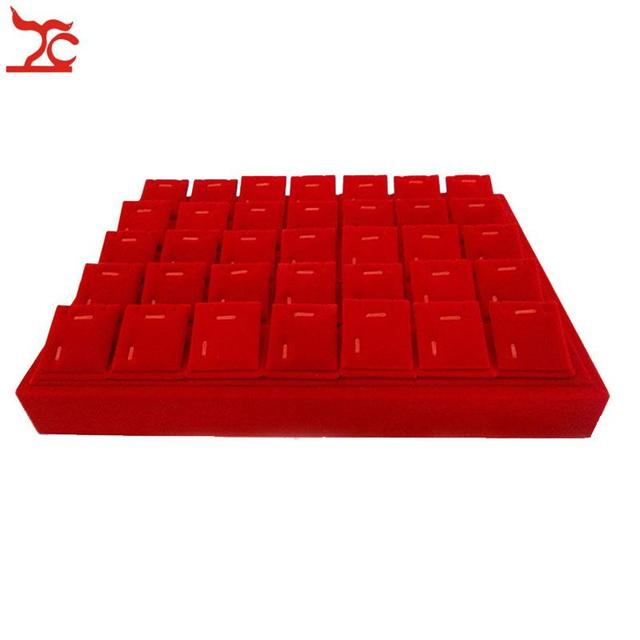 High Quality Red Velvet Jewelry Display Earring Holder Pendant Tray With 35pcs Accessory