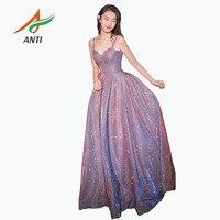 ANTI 2019 Fashion Women Cocktail Dresses Elegant Sweetheart Neck Sequins Sleeveless vestidos de coctel Long Party Gowns Hot Sale