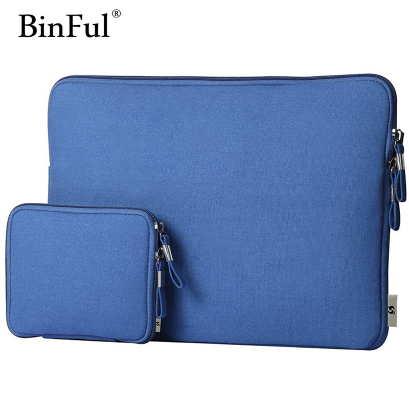 BinFul Laptop Bag Case For Macbook Air Pro Retina 11 12 13 15 Zipper Bags Carry Pouch Cover For Notebook Soft Sleeve 14