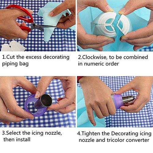 1 pz Utile Icing Piping Bag Convertitore Ugello 3 Foro 3 di Colore Crema Accoppiatore Cake Decor Strumento