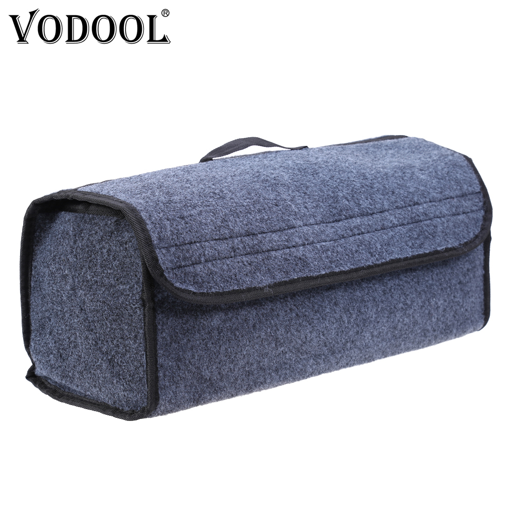 VODOOL Car Trunk Organizer Storage Box Bag Foldable Soft Felt Auto Car Boot Organizer Travel Tools Stowing Tidying Container Box