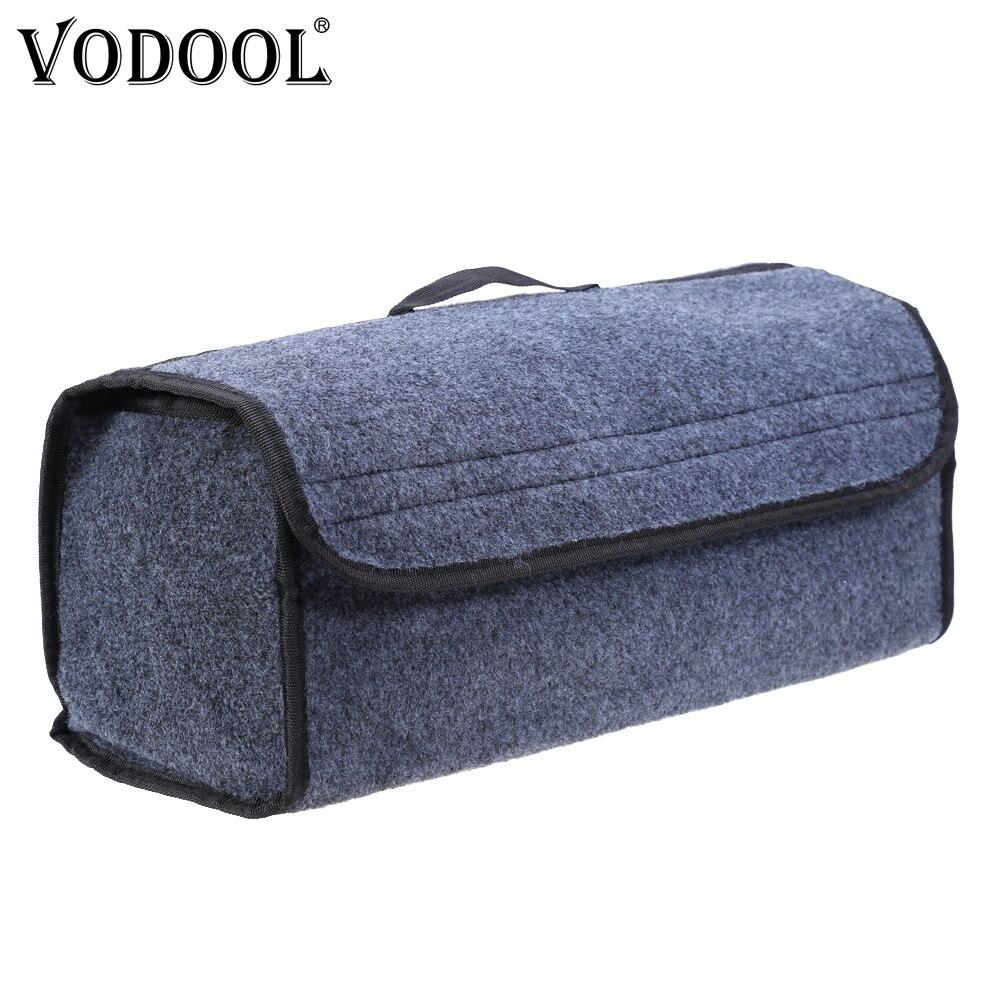VODOOL רכב ארגז ארגונית שקית אחסון מתקפל הרגשתי בד אוטומטי רכב אתחול ארגונית מקרה אחסון תיבת נסיעות מזוודות כלים Tidying