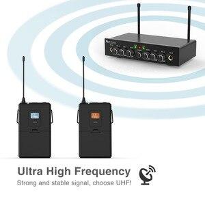Image 3 - ワイヤレスマイクシステム、 Fifine UHF デュアルチャンネルワイヤレスマイク 2 ヘッドセット & 2 ラペルラベリアマイクロホンで設定。 K038