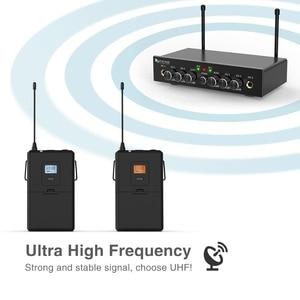 Image 3 - אלחוטי מיקרופון מערכת, Fifine UHF ערוץ כפול מיקרופון אלחוטי סט עם 2 אוזניות & 2 דש Lavalier מיקרופון. K038