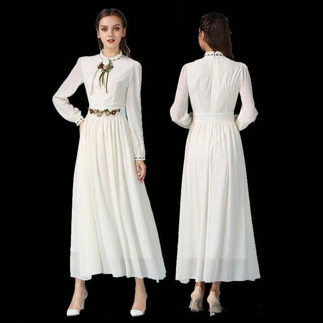 49451e98a6a Женские Модные длинный рукав Вышивка Макси платье 2017 элегантные весенние  женские белые Платья для женщин Абаи