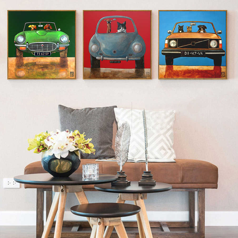 AAHH Car Painting/Pictures Wall Art Picture Animal Cartoon Posters Canvas Painting Print on Canvas Decor for Home No Frame