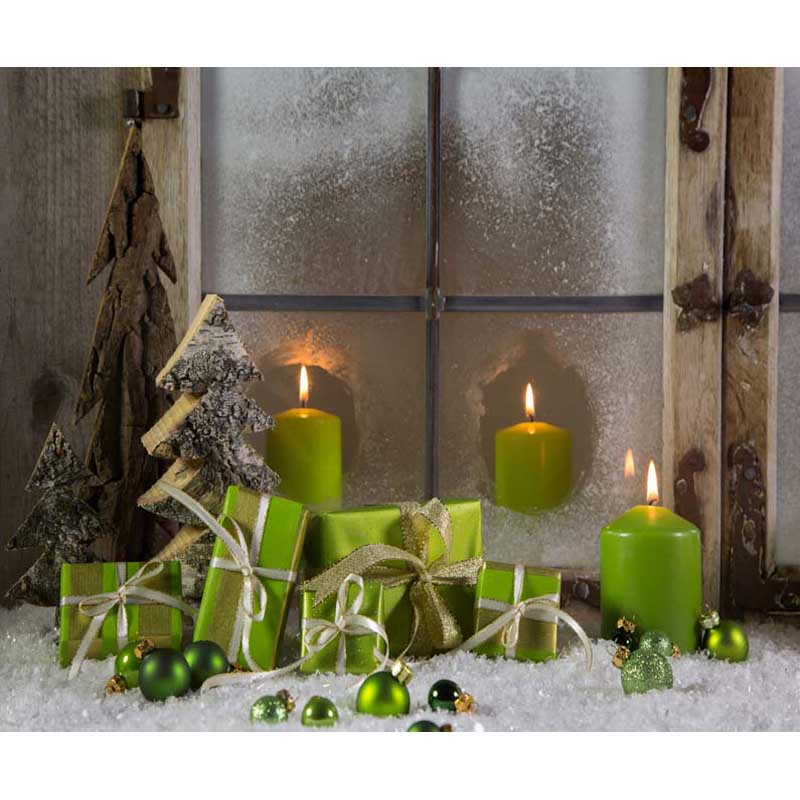 Wooden Cabin Window Candle 7X5ft Photo Background Computer Printed children Baby Christmas Backdrop Photography for Photo Studio
