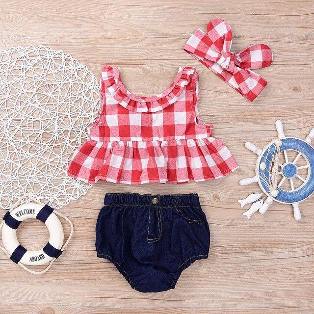 Criança Do Bebé SummerGirls Sem Mangas Xadrez Vermelho e Branco Backless Top + Denim Cuecas + Mesma Cor Tiara de Três Peças conjunto