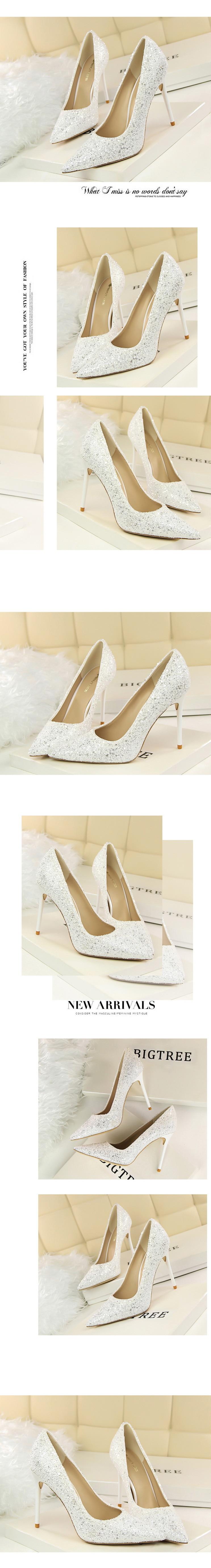 Sapatos femininos de salto alto boca rasa