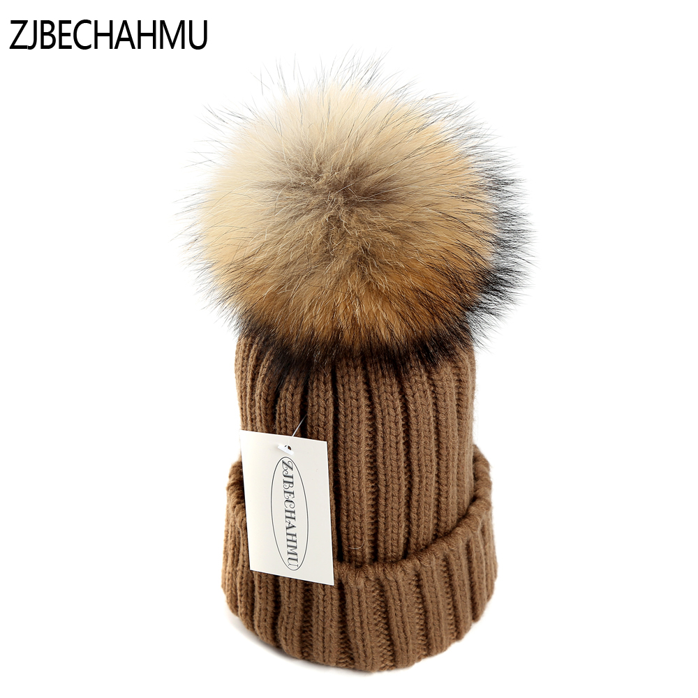 Fashionable  mink and fox fur ball cap pom poms winter hat for women girl 's hat knitted beanies cap brand new thick female cap new star spring cotton baby hat for 6 months 2 years with fluffy raccoon fox fur pom poms touca kids caps for boys and girls