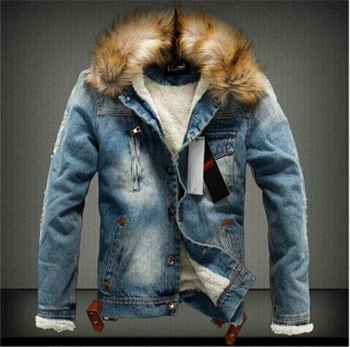 2019 New Classic Men's Retro Denim Clothing Tide Brand Denim Jacket Winter Thick Cashmere Warm Jacket S-5XL