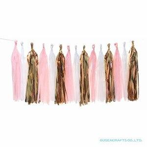 Светло-Розовая белая розовая Золотая свадебная декоративная ткань с кисточками, бумажная Свадебная гирлянда для праздника, дня рождения, в...