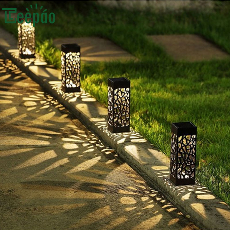 6Pcs Hollow Solar Lawn Lights Outdoor Waterproof LED Garden Lamp Villa Outdoor Landscape Led Lawn Insertion Light for Yard Path yunlights solar ground lights waterproof 5 led landscape path light walkway lamp for home garden yard driveway lawn