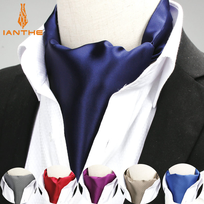 2018 New Brand Polyester Jacquard Men's Navy Red Solid Color Mens Cravats Novelty Wedding Slim Ascot Tie For Men Neckties Tie