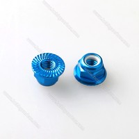 Free Shipping 20pcs Lot M4 Colored Aluminum Serrated Flange Lock Nut Nylon Insert CW M4 Flange