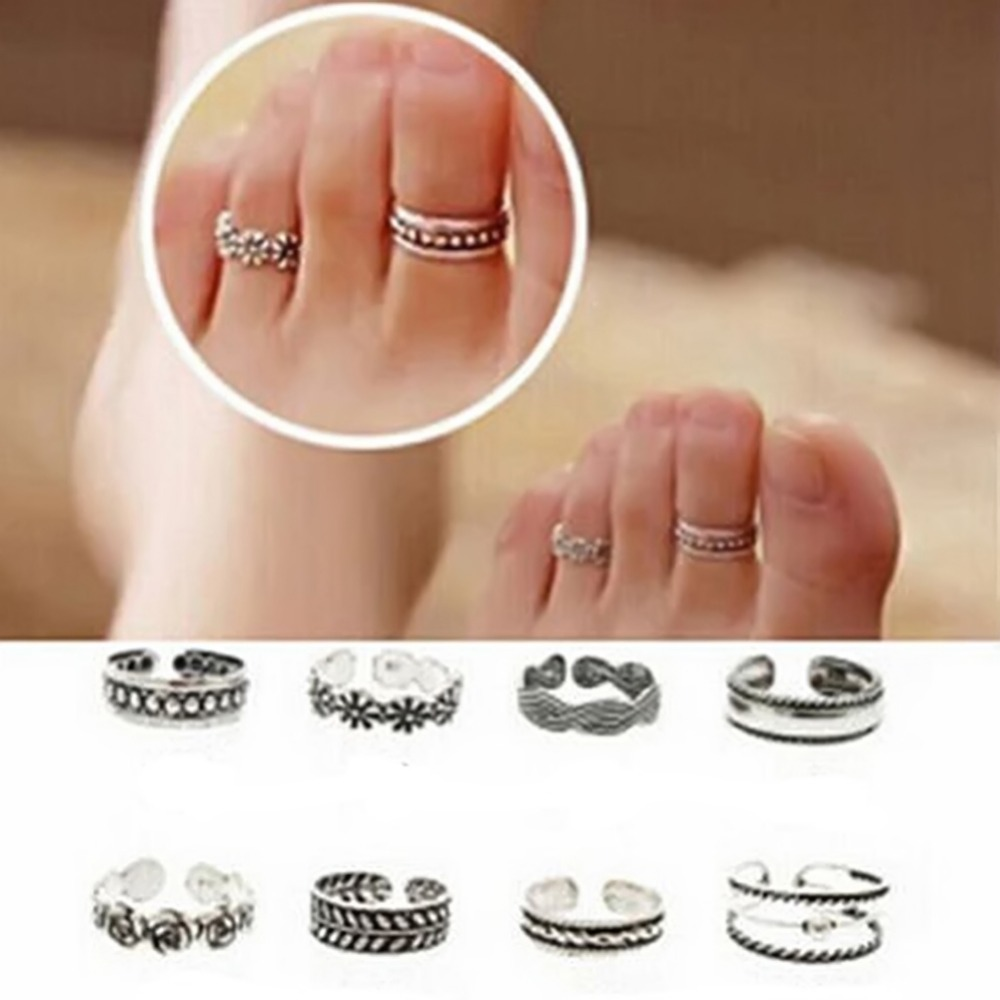 Jewelry Lady Unique Adjustable Opening Finger Ring Fashion Simple Sliver Plated Retro Carved Flower Toe Foot Beach