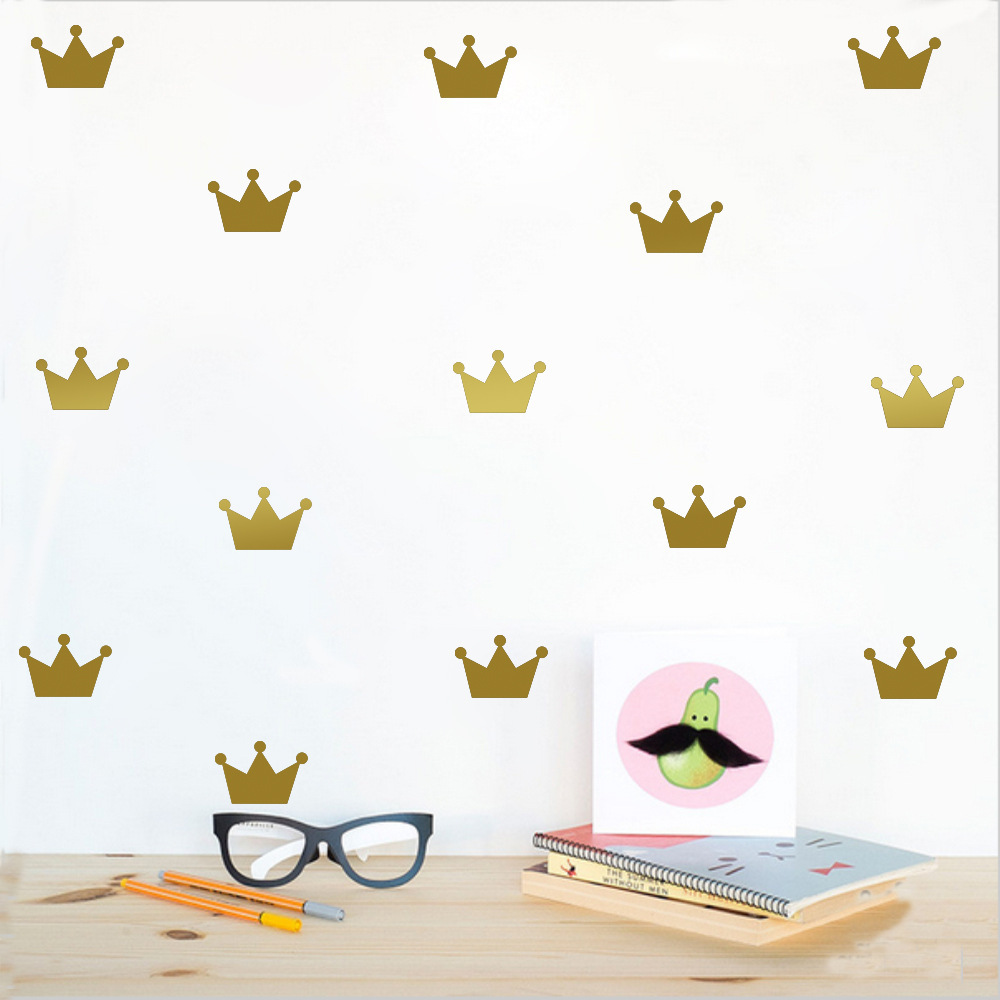 5*7cm*15pcs Cartoon Gold Queen Crown Princess Wall Sticker For Kids Baby Rooms Poster Home Decor Child Gifts Vinyl Art Mural