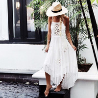 Women Summer Spaghetti Strap White Isla Bonita Embroidered Luxe Lace Dress Crochet Slip Dress